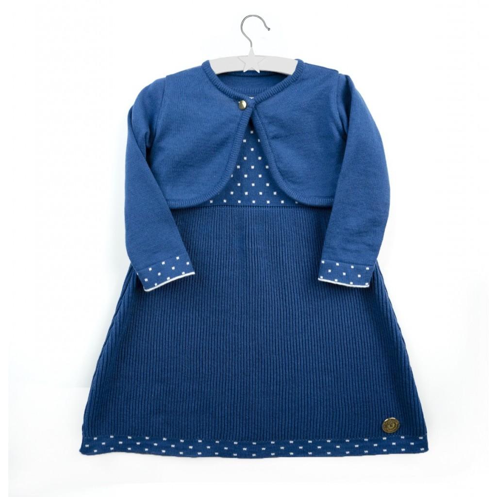 Elegancka, niebieska sukienka Melissa  dla dziewczynki  z bolerkiem